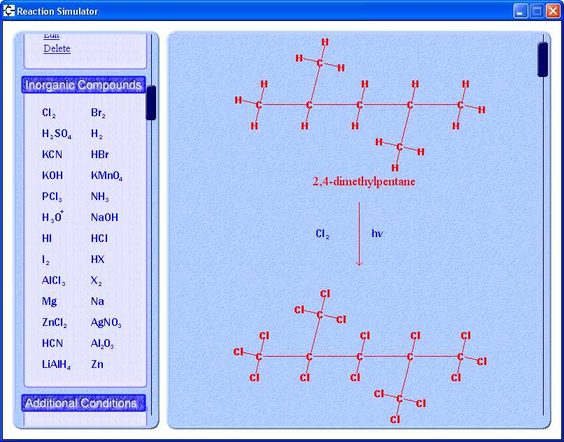 Alkane + Cl2 Reaction - Reaction Simulator